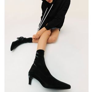 Zara Kitten Heel Stretchy Ankle Boots